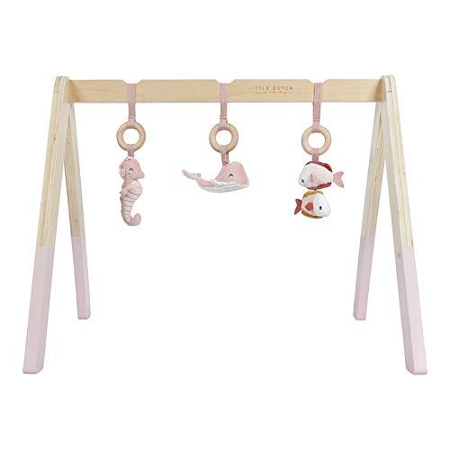 Tiamo Little Dutch 4833 Holz Baby Gym Spieltrapez mit Stoff Anhängern Ocean rosa 67,5x18x6,2 cm