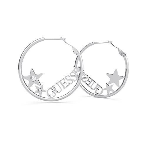 Guess Pendientes de aro de plata con logotipo y estrellas de 35 mm UBE70168