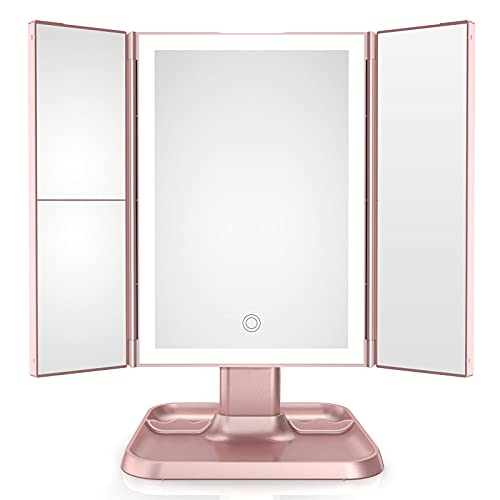 Makeup Mirror Trifold Vanity Mirror with 72 LED Lights -1x/2x/3x Magnification , Touch Screen Dimming with 3 Color Lighting Modes,Cosmetic Light Up Mirror