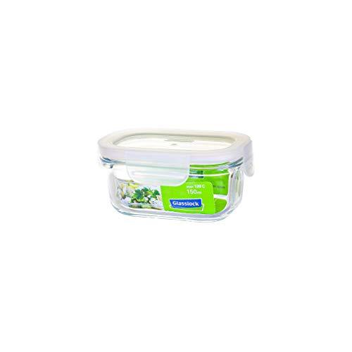 GLASSLOCK mikrowellengeeignete Vorratsdosen aus temperiertem Glas mit Clip-Verschlussdeckel, Fancy Line, 150ml, rechteckig, MCRB-015F