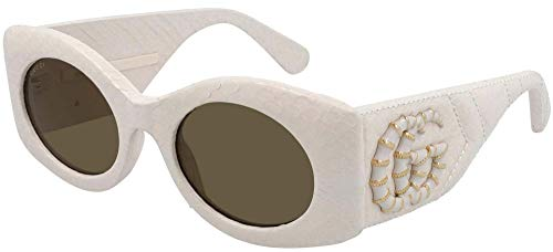 Gucci Gafas de Sol GG0815S Ivory Leather/Green 52/22/145 mujer