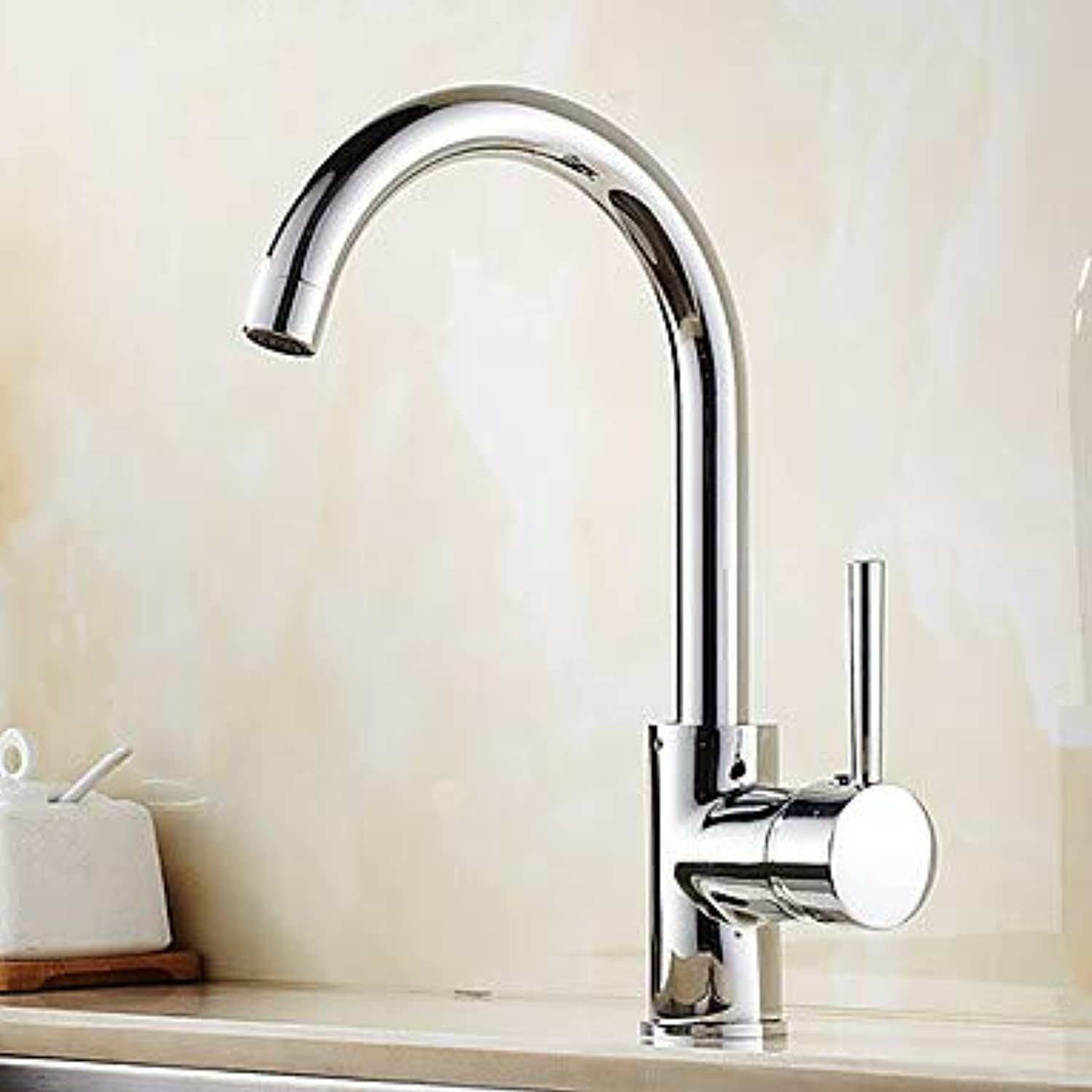 Mangeoo Kitchen Faucet Single Handle One Hole Oil-Rubbed Bronze Nickel Brushed Electroplated Spout Vessel Brass Tap,Chrome