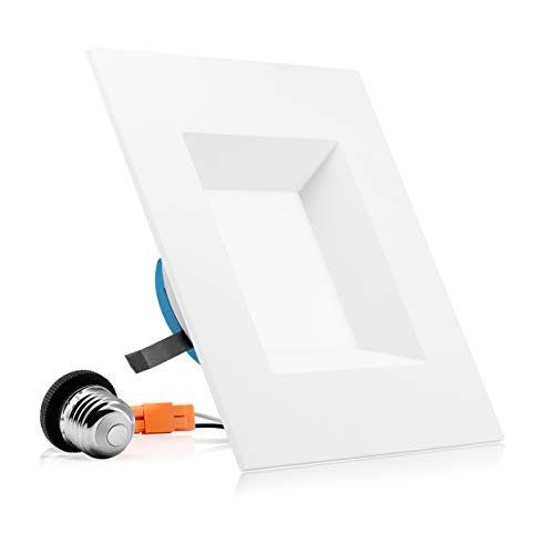 PARMIDA 6 inch Dimmable LED Square Recessed Retrofit Lighting, Easy Downlight Installation, 12W (100W Eqv.), 950lm, Ceiling Can Lights, Energy Star & ETL-Listed, 5 Year Warranty, 4000k- 1 Pack