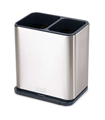 Joseph Joseph 85161 Utensil Holder with Removable Spoon Surface Kitchen Accessory, One-size, Stainless Steel/Dark Gray