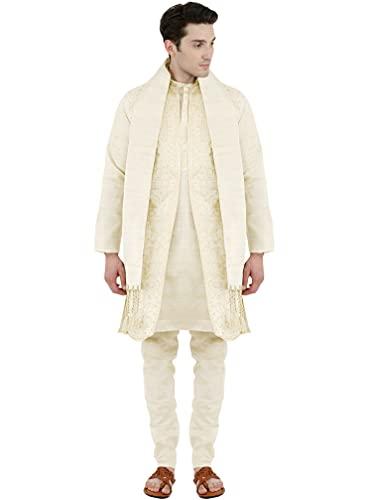 SKAVIJ Kurta Pajama For Men With Jacket And Stole Festival Wedding Suit Dress Set (Small, White)