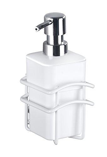 Wenko Classic Plus-Dispenser voor Vloeibare zeep met hoge kwaliteit roestvast, Staal, Wit, 9 x 10 x 17,5 cm