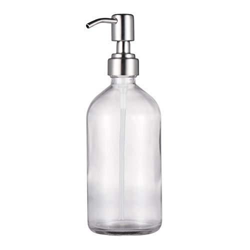 TENDYCOCO bouteille en verre avec pompe distributrice voyage pompe bouteille pour shampooing revitalisant gel douche savon huiles essentielles 500ml