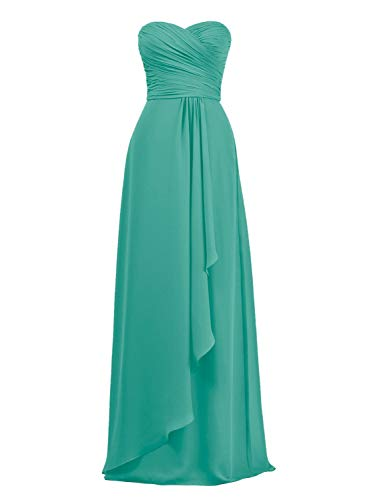 Alicepub Chiffon Bridesmaid Dresses Long Wedding Party Prom Evening Gowns Sweetheart, Tiffany, US16