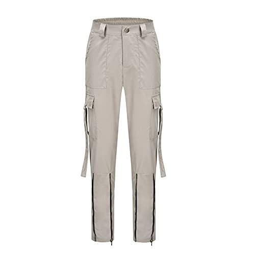 Pantalones de cintura alta con estampado a cuadros para mujer, pantalones de carga casual con bolsillos, caqui, M
