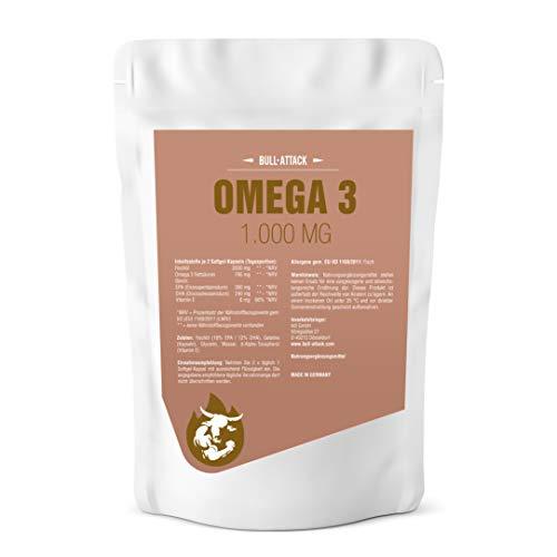 OMEGA 3 KAPSELN á 1000 mg - 500 Softgel-Kapseln - Premium Lachsöl - Fischöl + Vitamin E, 18% EPA / 12% DHA - Gesunde Fettsäuren zum Fairen Preis