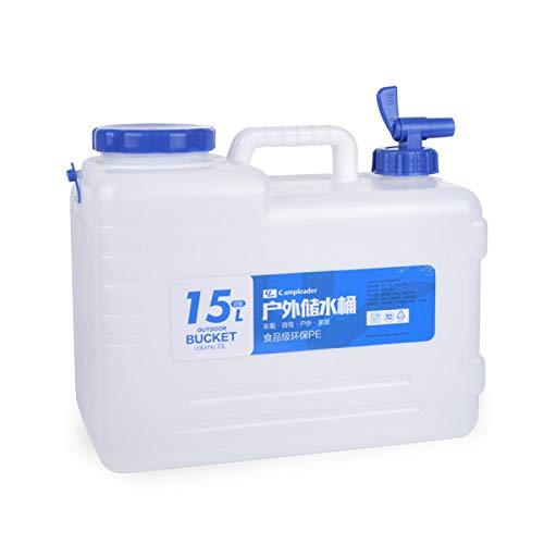 Recipiente de almacenamiento de agua de 15 litros, recipiente portátil de agua potable Jarra portadora de agua de viaje al aire libre con grifo para el hogar Camping Picnic BBQ Tour de auto-conducción