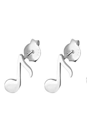 Elli Pendientes Mujer El Símbolo de la Nota Musical Clásico Juguetón en Plata Esterlina 925