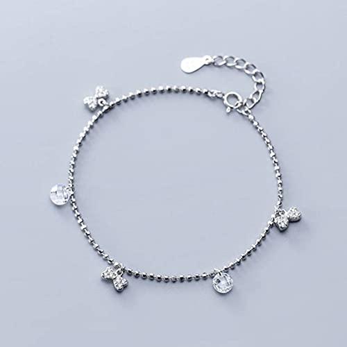 BEWITCHYU Pulsera de Cuentas de Plata S925, Joyería de Mano de Cuentas Redondas con Lazo de Diamantes de Moda para Mujerpulsera de plata s925