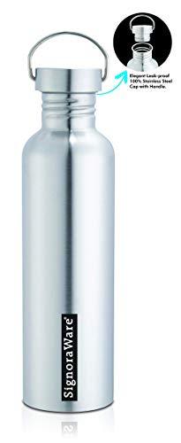 Signoraware Mac Single Walled Stainless Steel Fridge Water Bottle, 1 Litre, Silver