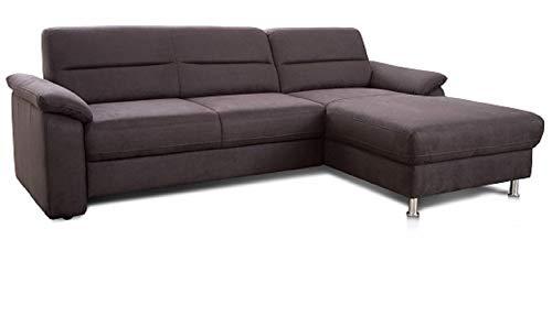 Cavadore Ecksofa Ascaro mit Longchair rechts, Boxspring-Sofa mit Bettfunktion im modernen Design, 254 x 84 x 171, Lederoptik Anthrazit