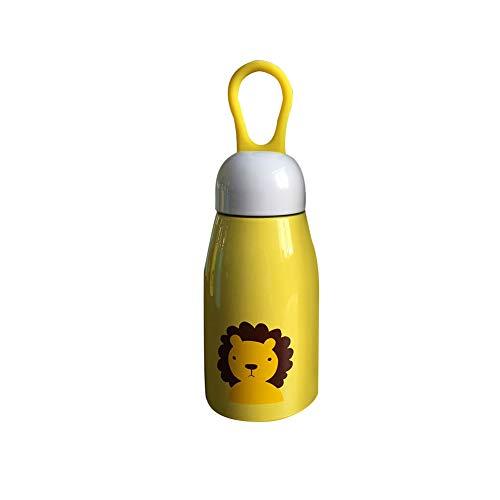 DIKOPRO Termo, Botella De Acero Inoxidable Al VacíO De Doble Capa, Botella Sin Aire PortáTil con Gota De Agua De Dibujos Animados, Adecuada para NiñOs(LeóN Amarillo Beige, 500ml)