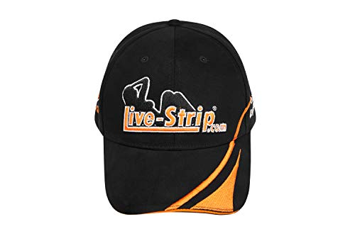 Live-Strip Baseball-Cap, schwarzes Basecap für Herren, Schirm-Mütze mit lustigem Spruch, Erotik Merchandise, aus 100% Baumwolle, Menge: 1 Stück