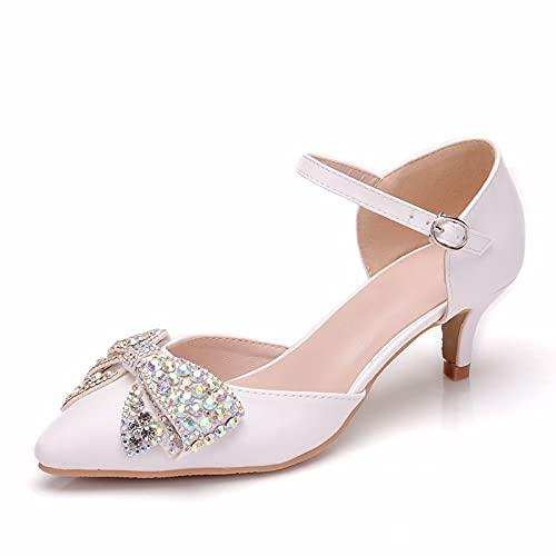 Zapatos De Novia para Mujer, Sandalias De Punta Puntiaguda con Tacón De...