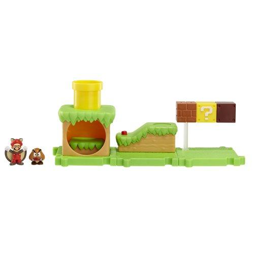 Jakks Pacific Super Mario Bros U Micro Land Spielset Gras Welt mit Mario und Goomba