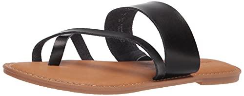 Amazon Essentials Women's One Band Flip Flop Sandal Flat, Black PU, 11 B US