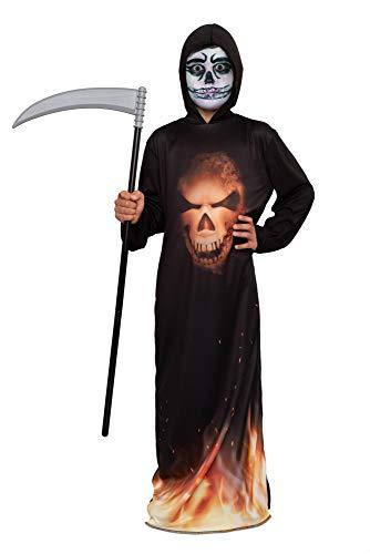 Magicoo Halloween Feuer Gespenst Skelett Kostüm Kinder Jungen schwarz inkl. Robe & Kapuze - Gr 110 bis 140 - Dämon Skelett-Kostüm Kind (122/128)