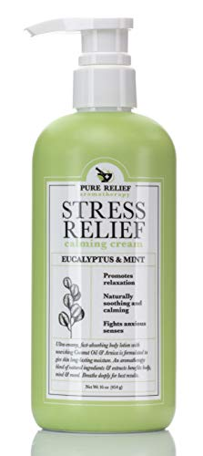 Stress Relief Calming Body Cream Eucalyptus-and-Mint Aromatherapy Body Lotion with Arnica, Coconut Oil Hydrating Natural Extracts Moisturize All Skin Types & Soothe Senses by Pure Relief, 16 Oz.