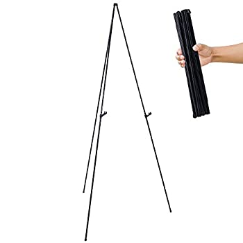 U.S Art Supply 63  High Steel Easy Folding Display Easel - Quick Set-Up Instantly Collapses Adjustable Height Display Holders - Portable Tripod Stand Presentations Signs Posters Holds 5 lbs