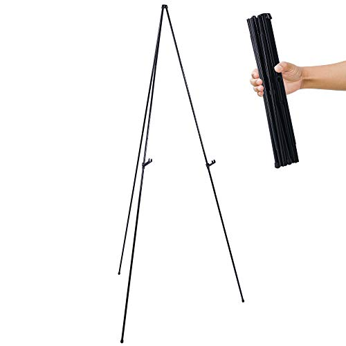 U.S. Art Supply 63' High Steel Easy Folding Display Easel - Quick Set-Up, Instantly Collapses, Adjustable Height Display Holders - Portable Tripod Stand, Presentations, Signs, Posters, Holds 5 lbs