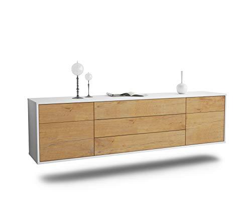 Dekati Lowboard Orlando hängend (180x49x35cm) Korpus Weiss matt | Front Holz-Design Eiche | Push-to-Open