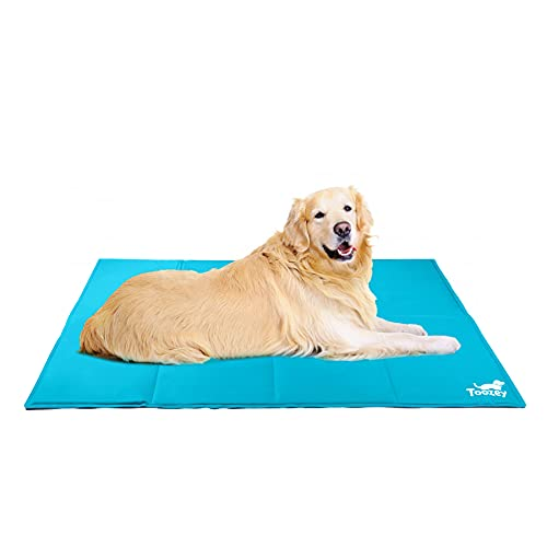Toozey Kühlmatte für Hunde Katzen Selbstkühlend - Druckaktivierte Gel Hund Kühldecke, Kein Wasser oder Kühlschrank Benötigt, Kratzfest/Wasserdicht/rutschfest Kühlmatte für Hunde, Blau XXL (140*90cm)