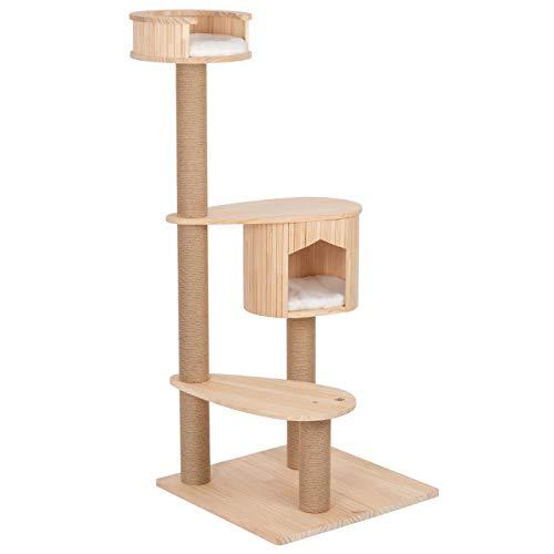 VOSS.PET Kratzbaum Isabel 135cm, Premium Kletterbaum, Echtholz Katzenkratzbaum Liegefläche Schlafhöhle Katze Kater