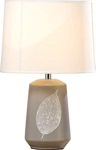 Boltze 1009739 Lampe Tischlampe mit Blatt-Motiv u. Porzellanfuß 39cm