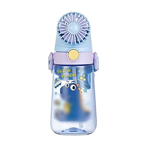 TTSHOP Botella de Agua, Botellas de Bebida, Ventilador (extraíble) Taza de Agua Escolar para niños, Taza de Paja de Verano Correa para Botella de Agua de jardín de Infantes,