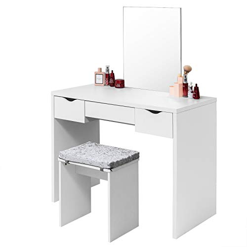 EUGAD Juego Mesa de Tocador con Taburete Tocador Moderno Escritorio con Espejo Mesa de Maquillaje con 3 Cajones Madera 100x49,5x129,5cm Blanco 0011SZT