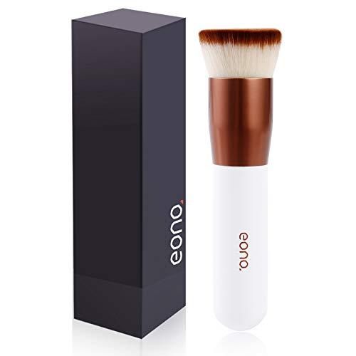 Amazon Brand - Eono Make-Up Pinsel Kabuki Foundation Pinsel(Upgrade), Flacher Kosmetikpinsel Ideal für Flüssigkeit, Creme und Puder, Flat Top Polierpinsel, Gesichtspinsel