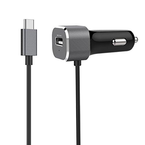 Ennotek USB C Autoladegerät mit 1m USB-C Kabel (5V/3A) und 2.4A USB A Port Kompatibel mit iPhone, iPad, Galaxy und Galaxy Tab