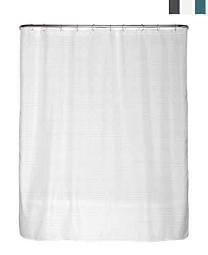 arteneur® - Premium Duschvorhang 180x200 – Antischimmel Duschvorhang Weiß mit Struktur-Stoff , Blickdicht, Wasserdicht, Waschbar und inkl. E-Book und Ringe (Schnee Weiß)