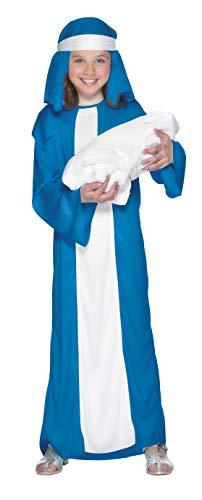 Smiffy'S 23837S Disfraz De Virgen María Para Niña Con Vestido Y Adorno Para La Cabeza, Azul, S - Edad 4-6 Años