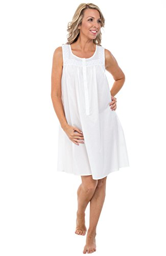 Alexander Del Rossa Womens 100% Cotton Lawn Nightgown, Sleeveless Scoop Neck Sleep Dress, X-Small White (A0592WHTXS)