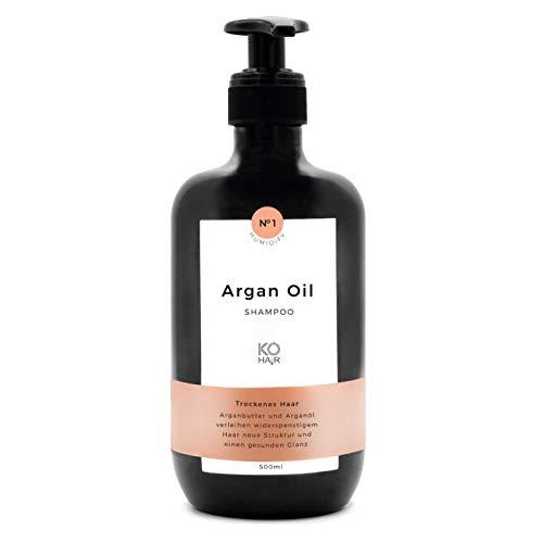 KÖ-HAIR Klinik Shampooing anti-frisottis à l'huile d'argan pour une brillance saine et une structure améliorée des cheveux frisés et rebelles avec un parfum délicat de noix de coco 250 ml ou 500 ml