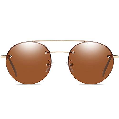 DKee Gafas de sol clásicas de material de metal, marco dorado, lentes azul/marrón, para hombres y mujeres con las mismas gafas de sol polarizadas (color: marrón)