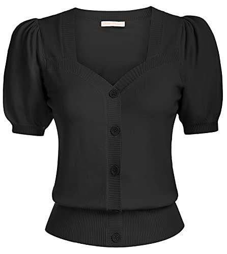 Wmen Short Sleeve Bolero Shrug Lightweight Black Cropped Cardigan,Black,S