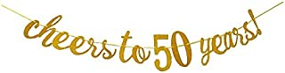 E&L Cheers to 50 Years Banner - Happy 50th Birthday Party Decorations - 50th Wedding Anniversary Decorations