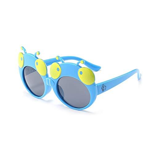 Gafas De Sol Linda De La Mariquita, Niños Vidrios Polarizada, Marco De Silicona, Protección UV 400 Gafas, For Chicos, Chicas Edad 3-12 para decorar tu propio diseño ( Color : Sky-blue , Size : Grey )