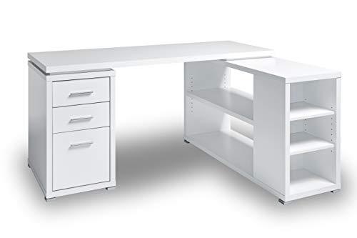 Jahnke CLB 355 E WEISS/ALU Eck-Schreibtisch Die Holzteile, aus E1-Holzwerkstoffplatten und mit einer hochwertigen Matt-Lackierung oder Melaminharz-Beschichtung versehen Aluminiumfarbig, XL