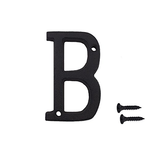 3 Inch Wrought Iron House Number, Matching Screws Included Black Letter B