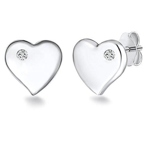Rafaela Donata Orecchini a lobo da donna cuore argento Sterling 925 con zirconia bianco 60903072