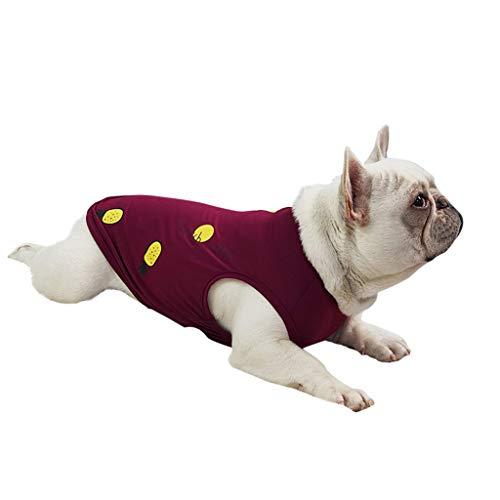 Sayhi Fashion Pet Pineapple Pattern Vest Pet Dog Tank Top Cat Costume Summer Apparel Pet Dog Clothes(Red,XL)