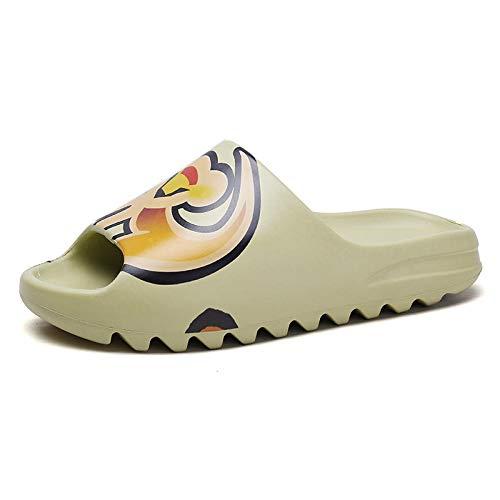 Zapatos de piel sintética para interiores, bonitas pantuflas transpirables, de una sola palabra, antideslizantes para mujer, diseño de mono con tarjeta, color coral