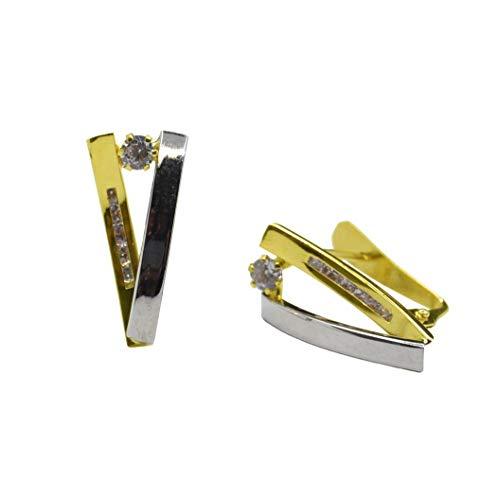 Pendientes Oro Bicolor con Circonita y cierre de Ballestilla